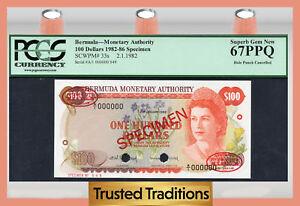 Bermuda 100 Dollars 1982 Specimen Pick 33s Karibik 1