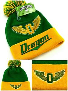 the best attitude b4e52 7b47f Image is loading Oregon-New-Top-Knit-Beanie-Toque-Pom-Ducks-