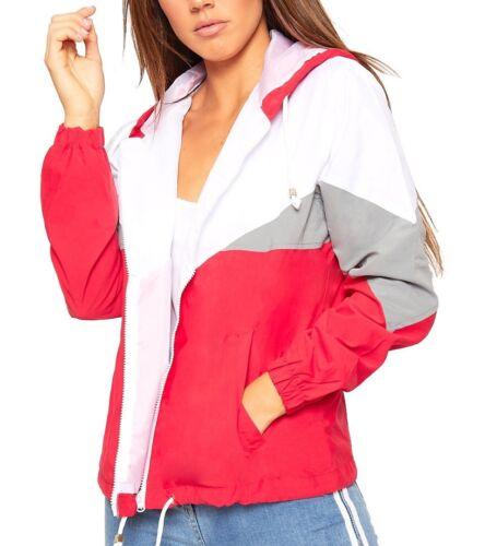 Women/'s Ladies Long Sleeve Block Contrast Hooded Zip Up Windbreaker Jacket Coat