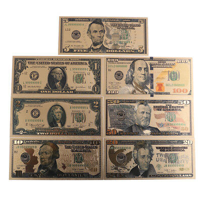 7Pc//set commemoratives gold foil USA dollars papers money banknotes collections