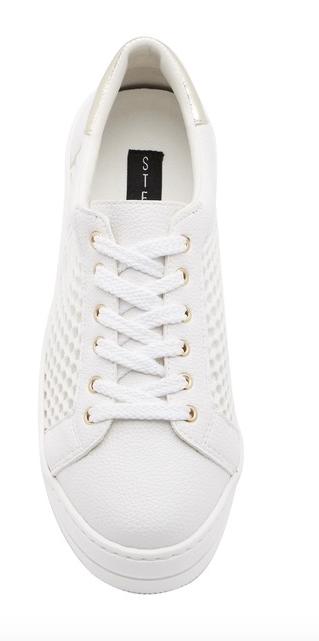 Steven By Steve Madden Napper Platform Sneakers White/Gold 10.5/11