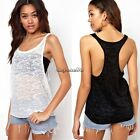 New Lady Women Sexy Sleeveless Loose Vest Sheer Casual Tops Blouse T-shirt Tank
