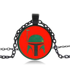 Boba Fett Black Glass Cabochon Necklace chain Pendant Wholesale