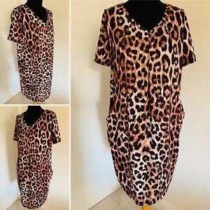 Roman Animal Print Dress Size Uk 12 Short Sleeve Pockets V Neck Stretch Leopard Ebay
