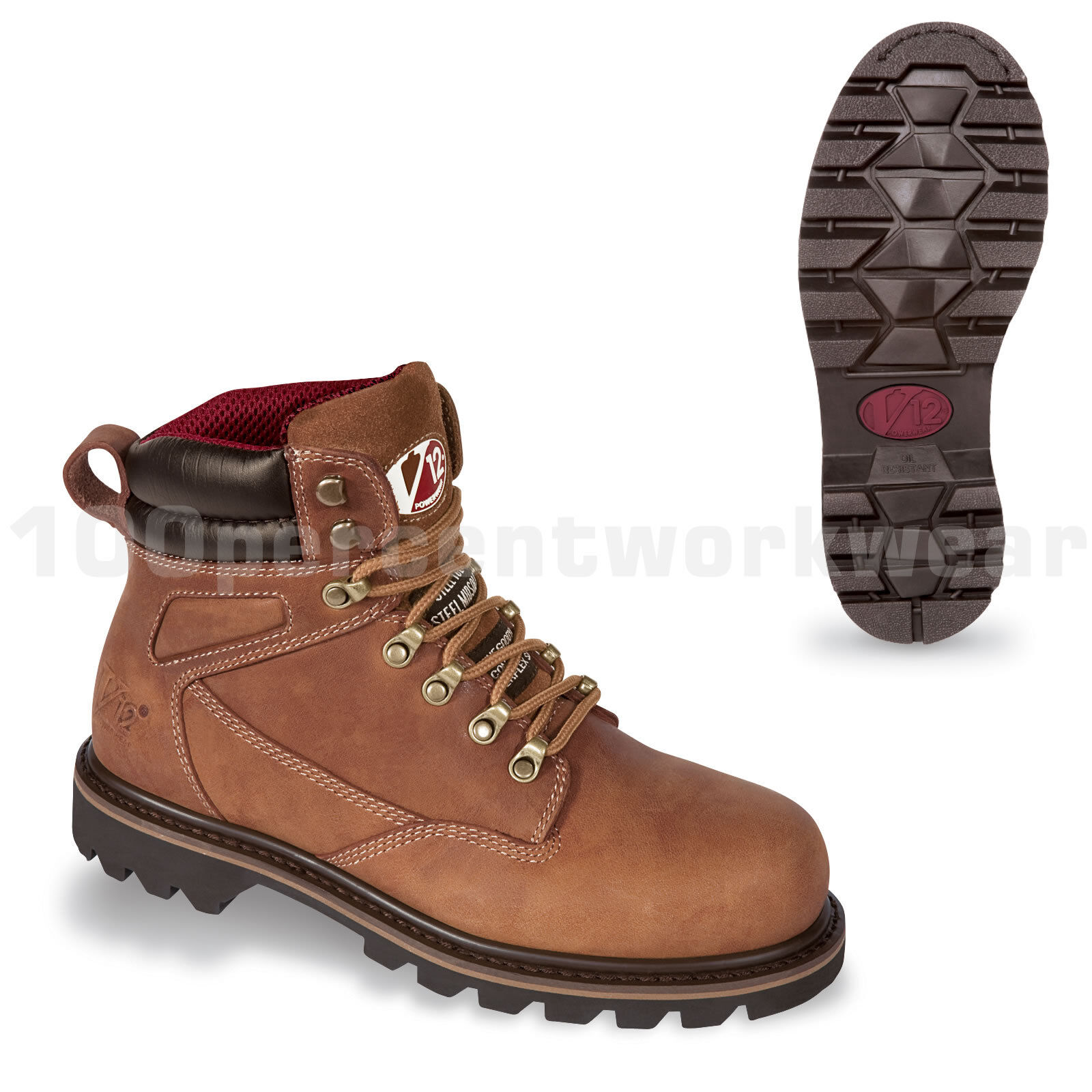 V12 Safety Footwear V1244 MOHAWK Mens Work Boots Brown Leather Steel Toe Cap UK