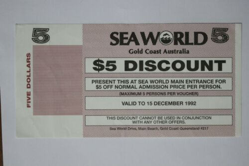 AUSTRALIA sea world discount 5 dollars MS171028D4