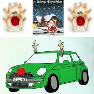 Fuer-LKW-SUV-Dekor-Kit-Weihnachten-Rudolph-Auto-Kostuem-Rote-Geweih-Nase-R4V3