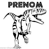 Sticker Dinosaure T-rex 25x27cm À 35x37cm + Prénom Au Choix (dino007)