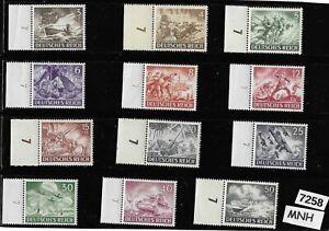 #7258 MNH Third Reich Germany stamp set 1943 Military Hero's Wehrmacht Luftwaffe