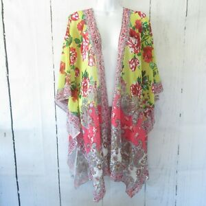 New-Umgee-Kimono-Cardigan-XL-XXL-Yellow-Pink-Floral-Paisley-Plus-Size