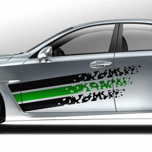 Aufkleber-Streifen-Grunge-Destroyed-Spritzer-Abstrakt-Bi-Color-Dekor-Auto-1378