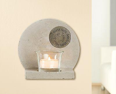 Zement Beton Teelichthalter Weisheiten Gilde Handwerk Wand Deko Träume Teelicht