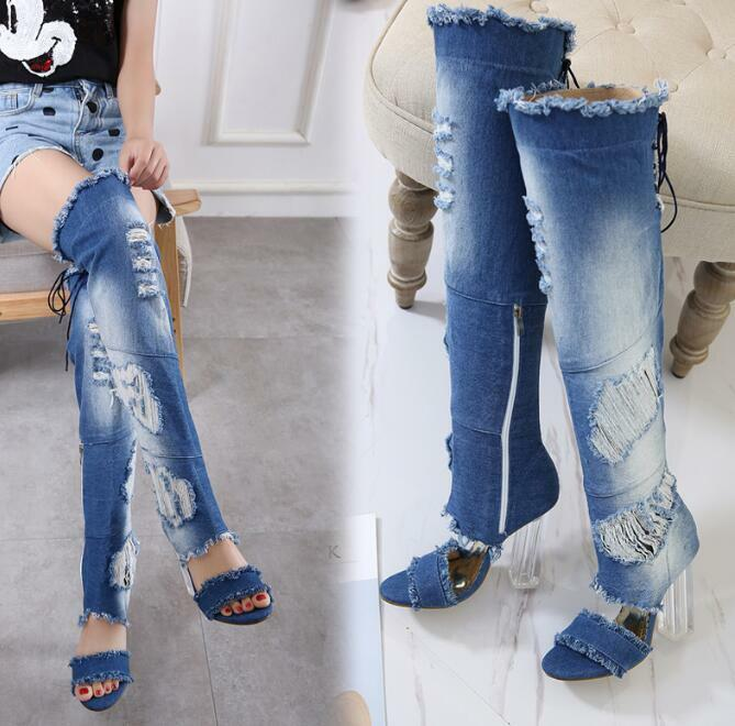 femmes Ripped Denim Open Toe bleu Over Knee Sandal bottes High Heel Lace Up chaussures