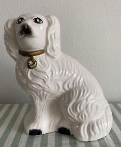 Vintage Staffordshire English Spaniel Ceramic Mantle Dog White Taiwan