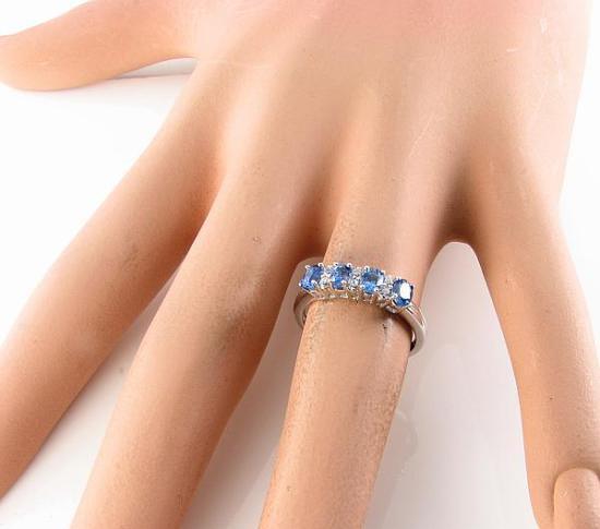 Qualità 9CT 9K Bianco oro oro oro Ceylon Zaffiro Diamante Eternity Anello Art Deco INS 6daba6