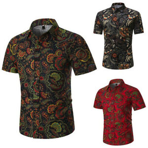 Personality-Men-039-s-Summer-Casual-Slim-Short-Sleeve-Printed-T-Shirt-Tops-Blouse