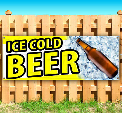 ICE COLD BEER Advertising Vinyl Banner Flag Sign Many Sizes FALL FESTIVAL USA