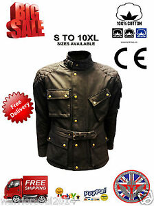New-Mens-Black-COTTON-WAXED-Motorcycle-Breathable-WP-Lined-ARMOUR-BIKER-JACKET