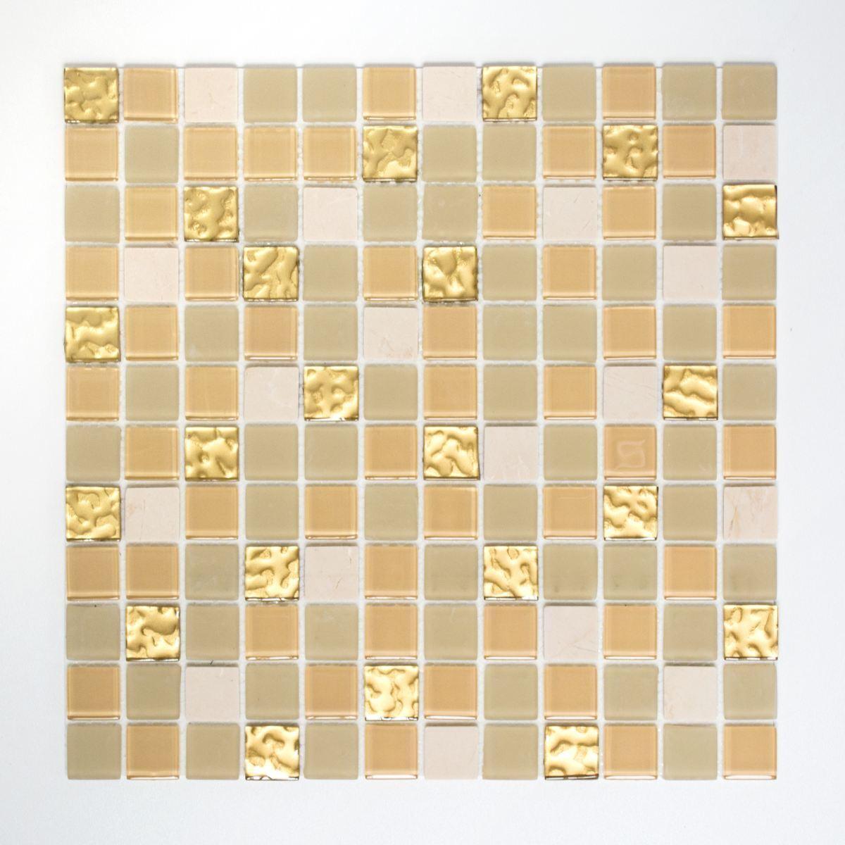 Mosaik Fliese selbstklebend Transluzent Stein weiß gold |200-4M362_f10 Matten