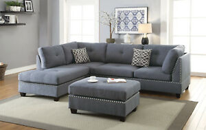 Details about Living Room 3pcs Sectional Sofa Chaise Ottoman Blue Grey  L-Shape Sofa Furniture