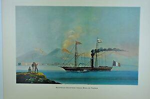 EN10-Ecole-napolitaine-du-XIX-peinture-bateau-francais-dans-baie-de-Naples