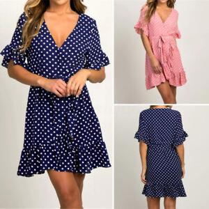 Womens-Polka-Dot-V-Neck-Wrap-Mini-Dress-Bohemia-Ruffle-Frill-Evening-Party-Dress