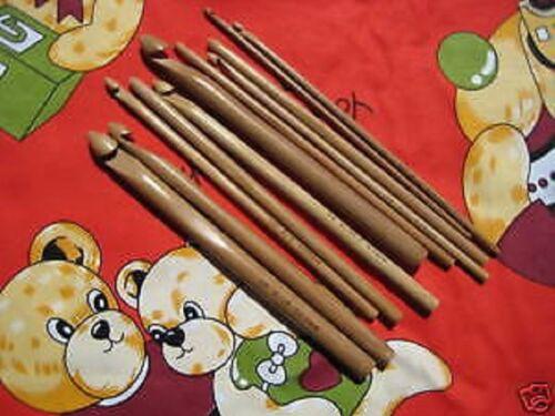 11 PCs Bamboo crochet hooks 3.0mm-10.0mm US 2-15 // C-N