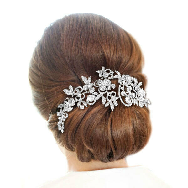 Bridal Flower Leaf Hair Comb Clear Rhinestone Crystal Floral