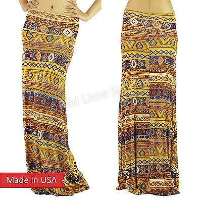 Mustard Yellow Geometric Ethnic Pattern Color Print Fold Over Long Maxi Skirt US