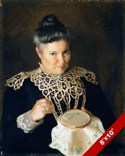 OLDER WOMAN SEWING CROSS STITCH STITCHING 1800'S PAINTING ART REAL CANVAS PRINT