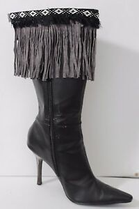 Women Western Grey Boots Topper Cover Faux Suede Leather Long Fringe Winter Pair