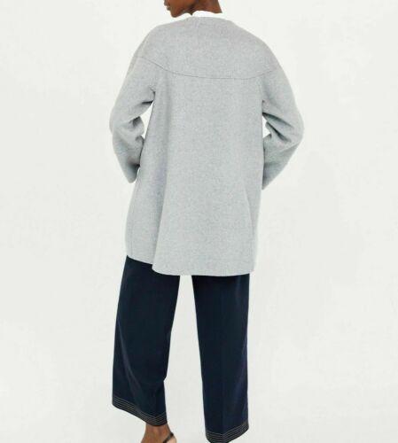 ZARA Hand Made Cape Laine Veste Manteau Bouton Grey Wool Buttoned Coat Jacket M L