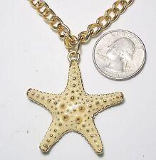 Beachy Knobby Starfish Pendant Necklace, Beige/Cream Enamel, Chunky Curb Chain