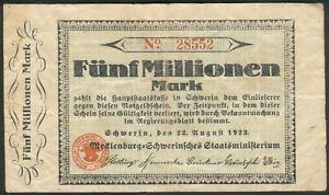 Meckl-Schwerin-5-Millionen-Mark-22-Aug-1923-rote-Kenn-Nr-28552-5stellig-III