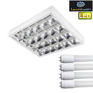NEU-SET-LED-Rasterleuchten-mit-4X-LED-60cm-T8-G13-Buerolampe-Rasterlampe