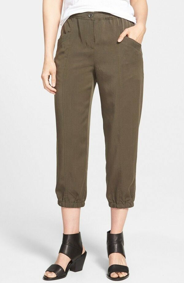 NWT Eileen Fisher Crop Tapered Pants Tencel Twill Surplus Green  - S, M