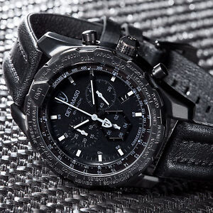 DETOMASO-AIRBREAKER-Mens-Watch-Chronograph-GMT-Stainless-Steel-Black-New