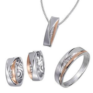 Goldmaid Ring, Kette oder Creolen 925 Sterlingsilber Bicolor rhodiniert Zirkonia