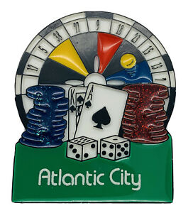 Old Atlantic City Casino Roulette Poker Dice Wheel Souvenir Refrigerator Magnet