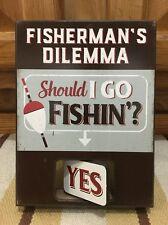 Fishermans Dilemma Fishing Outboard Motors Vintage Style Boat Fish Bait Reel Man