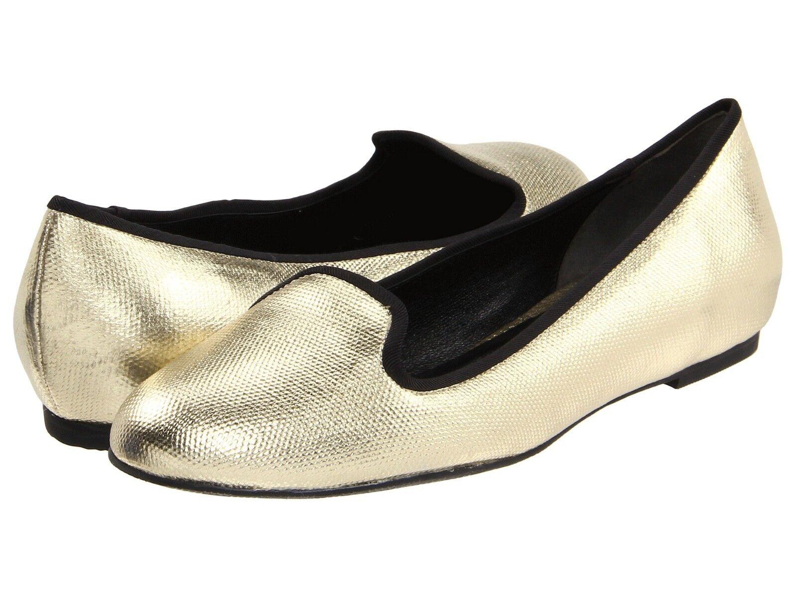 NEW MSRP  168 COLE HAAN Air Morgan Slipper Ballet Flat, gold Metallic Canvas, 9