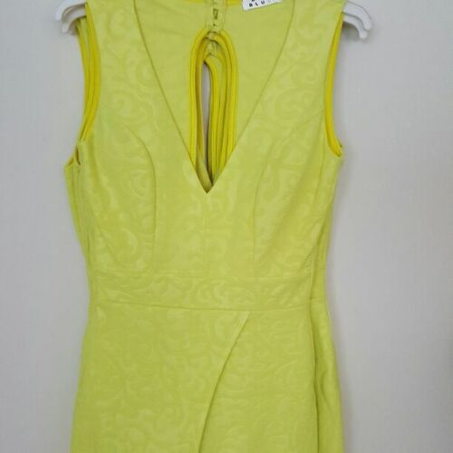 women/'s jumpsuit romper yellow lime short mini skirt S M L made in USA
