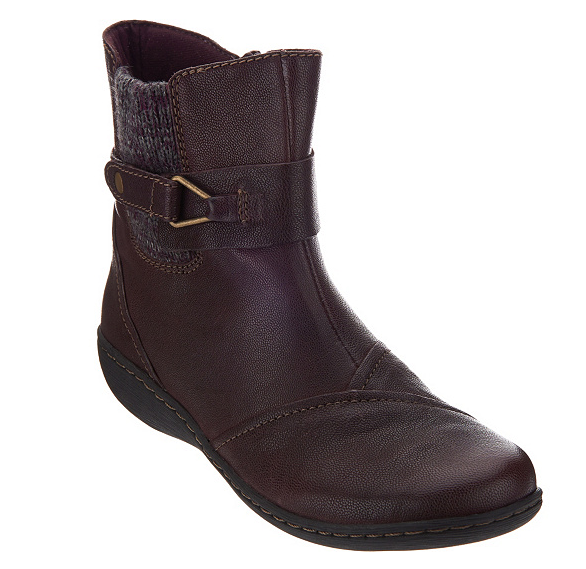 Clarks Leather Ankle Boots w  Knit Panel - Fianna Adley Aubergine Womens Size 8