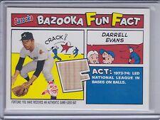 DARRELL EVANS 2005 Bazooka Fun Facts Relics Game Bat #FF-DE  (C125)