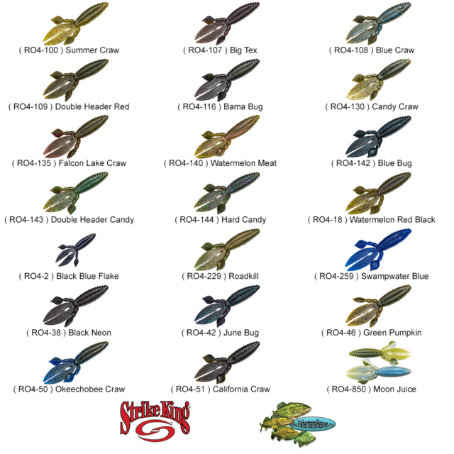 Strike King Soft Plastic KVD Rodent Creature Bait 4 Inch Any 27 Colors RO4 Lures
