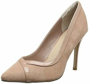 b1664f4ca0f Details about BN NEW LOOK SIZE 3 36 DUSTY DUSKY PINK FX SUEDE PATENT HIGH  HEEL COURT SHOES