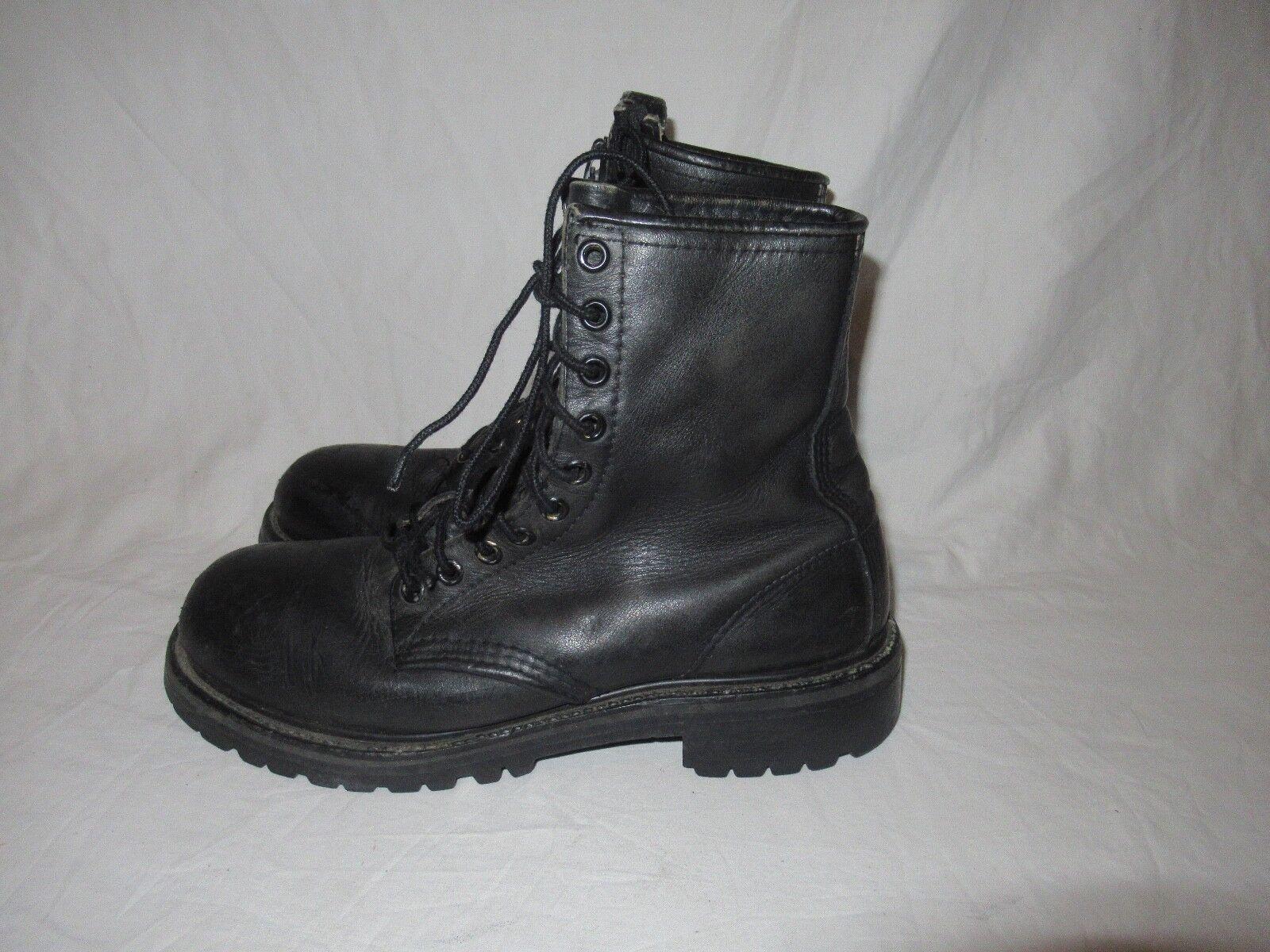 Ala roja Vintage botas Negro Cuero Cremallera Puntera De Acero Militar Estilo Motero D
