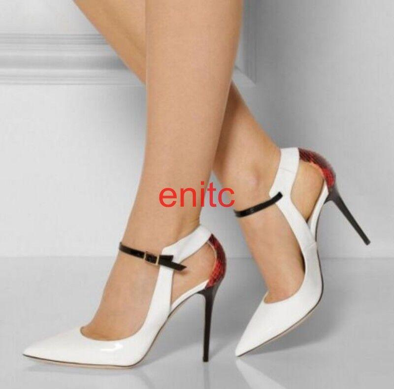 2019 Pointy toe Hollow Out Stiletto Ankle Strap Roman Women Sandal shoes Plus Sz
