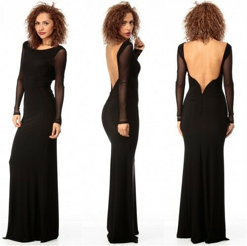 extremely unique buy classic style of 2019 Details about Black Low Back Evening Maxi Dress With Sheer Long Sleeves  Party One Size UK8-10