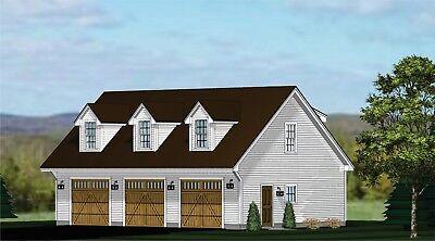 Garage Plans Blueprints 3 Car Traditional W Dormers Ebay